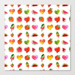 Cute colorful watercolor with hearts, watermelons, strawberries Canvas Print