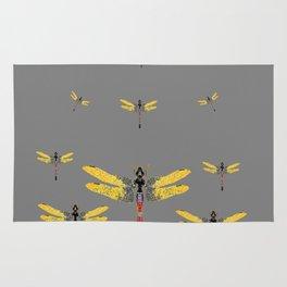 GOLDEN-RED DRAGONFLIES ON GREY Rug