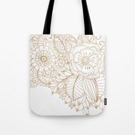 Elegant white faux gold glitter modern floral Tote Bag