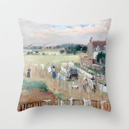 Berthe Morisot Hanging the Laundry out to Dry Throw Pillow