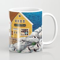 puffin Mugs featuring Puffin Point by Kirbeekatz