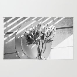 Bouquet and Plate-BW Rug