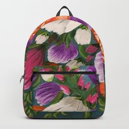 Sea of Flowers, Bright Floral Painting, Orange, Purple, White Flowers Backpack
