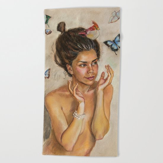 Girl with butterflies Beach Towel