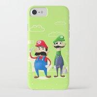 luigi iPhone & iPod Cases featuring Mario & Luigi by Jorge De la Paz