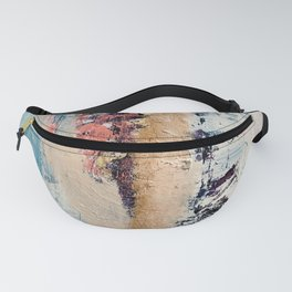 Artemis: A pretty, minimal, abstract mixed media piece in blue, gold, pink, purple, and white Fanny Pack