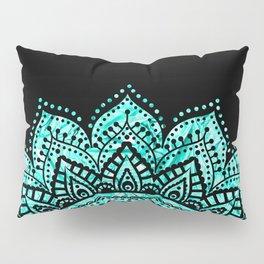 Black teal mandala Pillow Sham