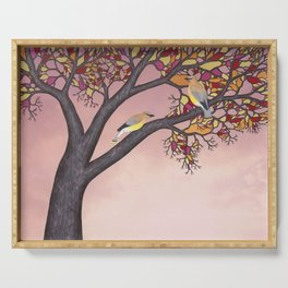 cedar waxwings on the stained glass tree Serving Tray
