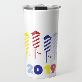 Happy New Year 2019 Fireworks Party Eve Travel Mug
