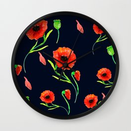 Red Poppies Field Wall Clock
