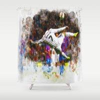 ronaldo Shower Curtains featuring Cristiano Ronaldo - THE TRADE MARK KICK by Don Kuing