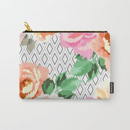 Flowers blooming in rhombuses Carry-All Pouch