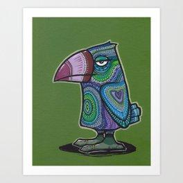 Blue and purple doodlebird Art Print