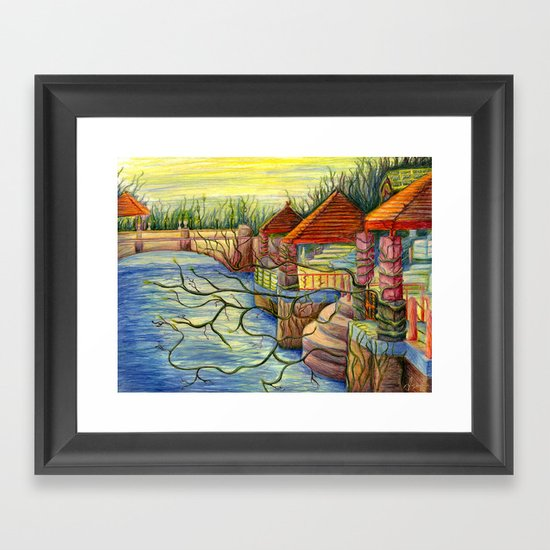 Pulling You In - Colored Pencil Drawing Framed Art Print