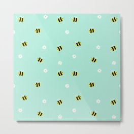 Bees and daisies Metal Print