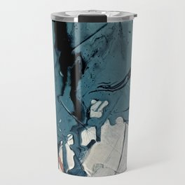 Fortune: A bold, minimal, abstract mixed-media piece in blue and black Travel Mug