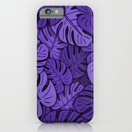 Monstera Leaves Ultraviolet iPhone Case