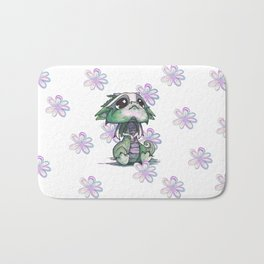 Baby Dragon with Flowers Bath Mat