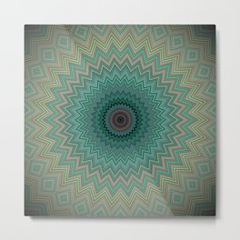 Bright Teal Yellow and Blush Mandala Metal Print