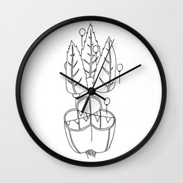 Party Plant - Black & White Wall Clock