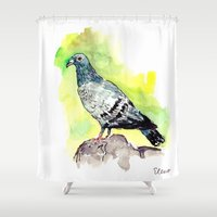 pigeon Shower Curtains featuring Pigeon by Elena Sandovici