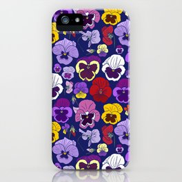 Pansy Flowers Spring Illustration iPhone Case