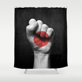 Japanese Flag on a Raised Clenched Fist Shower Curtain