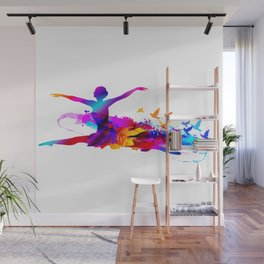 Colorful ballet dancer with flying birds Wall Mural