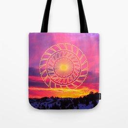 Pink Sunrise Golden Mandala Tote Bag