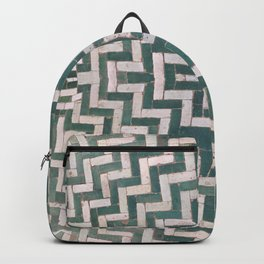 Moroccan floor tiles in green and white chevron Backpack