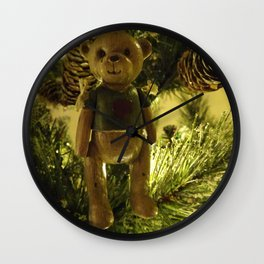 Teddy and Pinecones Wall Clock