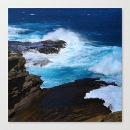 Luxurious, Tropical Ocean Surf in Azure and Turquoise Canvas Print