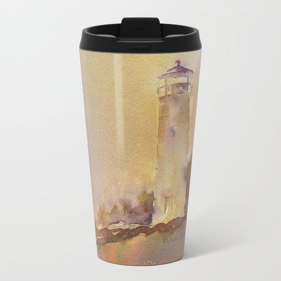 A golden, Crisp Point Metal Travel Mug