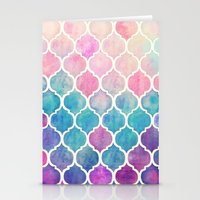 pink Stationery Cards featuring Rainbow Pastel Watercolor Moroccan Pattern by micklyn