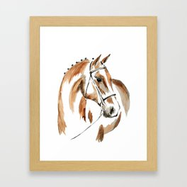Bay Watercolour Horse Framed Art Print