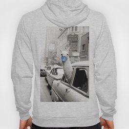 Yummy Blue Bubble Gum Llama taking a New York Taxi black and white photography Hoody