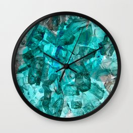 Turquoise Glass Chrystal Abstract Wall Clock