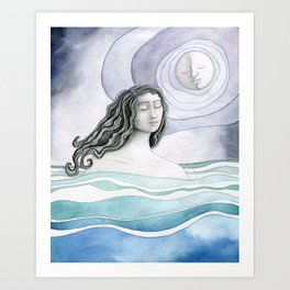 Swimming with the Moon Art Print