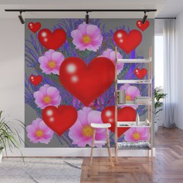 Red Hearts & Pink Wild Rose Valentine Purple Art Wall Mural