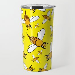 Bees on Yellow Travel Mug