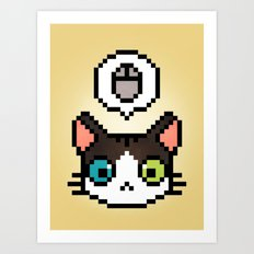 Pixel cat Art Print