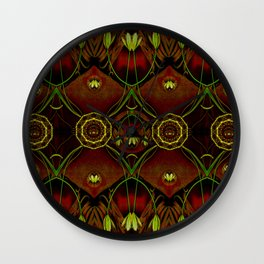 Lether and decorative florals pattern Wall Clock
