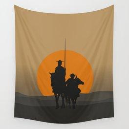 Don Quixote de la Mancha Silhouette, of Cervantes spanish novelist, at sunset Wall Tapestry