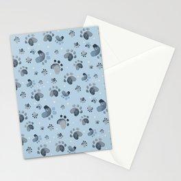 Dog Paw Print - Blue Stationery Cards