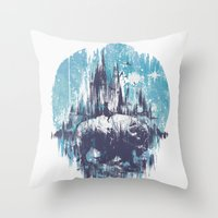 wanderlust Throw Pillows featuring Wanderlust by Robson Borges