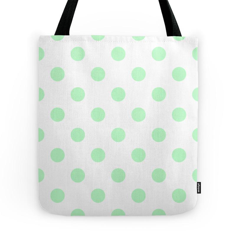 Polka Dots - Mint Green on White Tote Purse by polkadotsshop (TBG7857070) photo