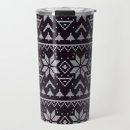 Knitted Christmas pattern in retro style 5 Travel Mug