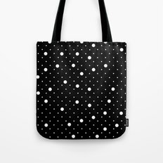 Pin Point Polka Dots White on Black Tote Bag