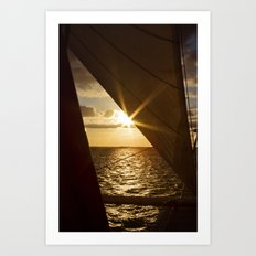 Sunset from the boat Art Print