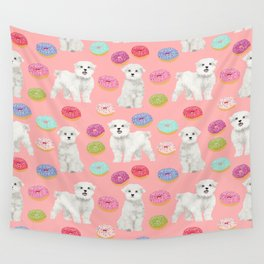 Maltese donuts dog breed funny pet lover dog person pattern print by pet friendly Wall Tapestry
